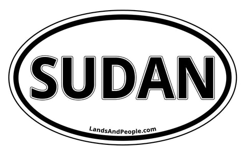 Sudan Car Sticker Decal Oval Black and White