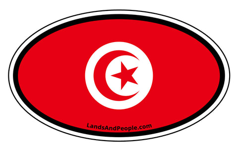 Tunisia Flag Sticker Oval