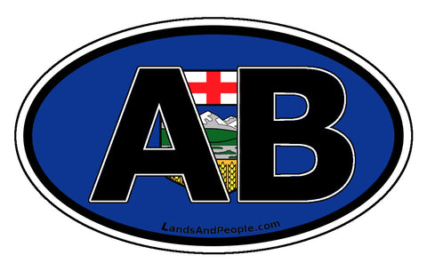 Alberta AB Province Flag Car Bumper Sticker Vinyl Oval