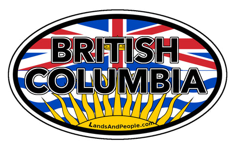 British Columbia Province Flag Car Bumper Sticker Vinyl Oval