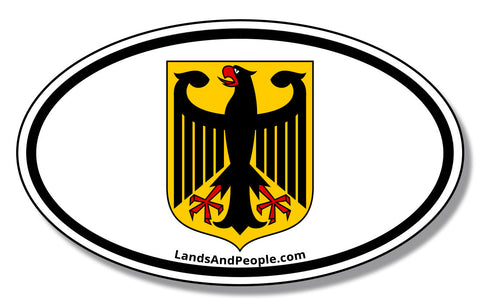 German Eagle Reichsadler and Bundesadler Coat of Arms of Weimar Republic and Federal Republic Car Sticker Oval
