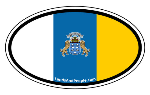 Canary Islands Flag Sticker Oval