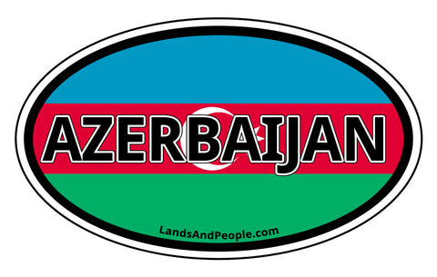 Azerbaijan Flag Bumper Sticker Oval