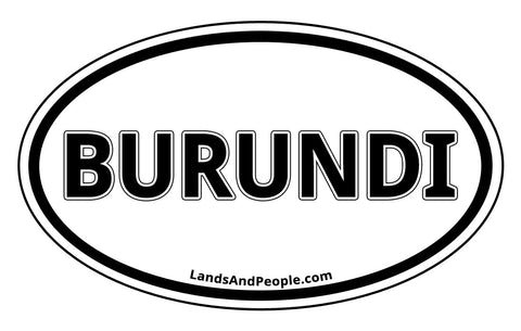 Burundi Sticker Oval Black and White