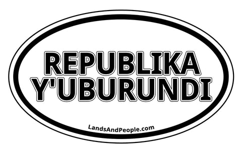 Republika y'Uburundi Burundi Sticker Oval Black and White