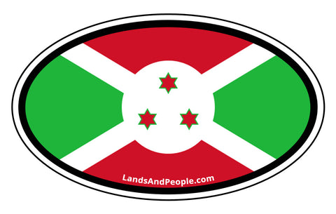 Burundi Flag Car Sticker Decal Oval