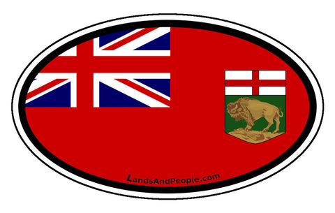 Manitoba Province Flag Car Bumper Sticker Vinyl Oval