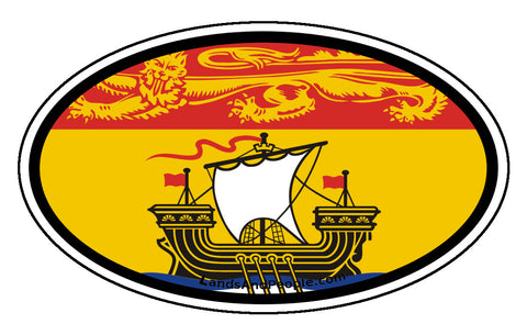 New Brunswick Province Flag Car Bumper Sticker Vinyl Oval