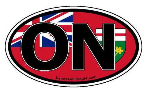 Ontario ON Province Flag Car Bumper Sticker Vinyl Oval
