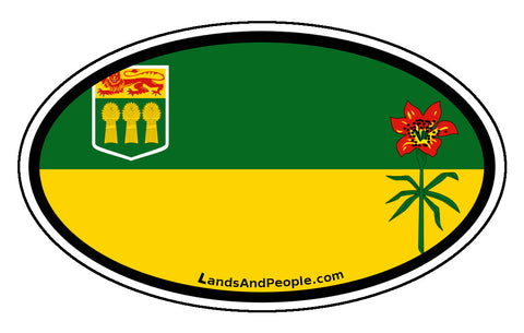 Saskatchewan Province Flag Car Bumper Sticker Vinyl Oval
