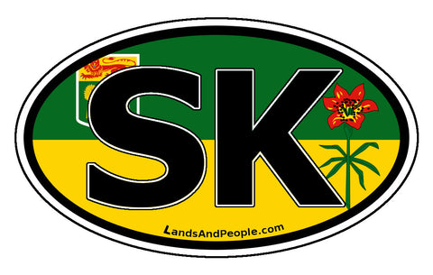 Saskatchewan SK Province Flag Car Bumper Sticker Vinyl Oval