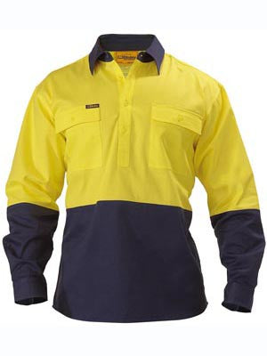 Bisley 2 Tone Closed Front Hi Vis Drill Shirt - Long Sleeve