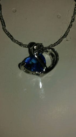 Fashion Women Heart Crystal Rhinestone Silver Chain Pendant Necklace Jewelryblue
