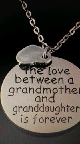 The Love Between a Grandmother and Granddaughter is Forever Pendant Necklace