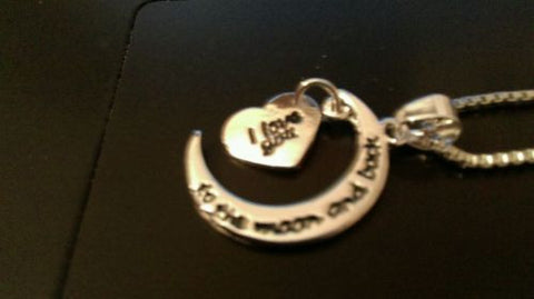 "Silver plated  ""I Love You to the Moon and Back"" Message Pendant Necklace"