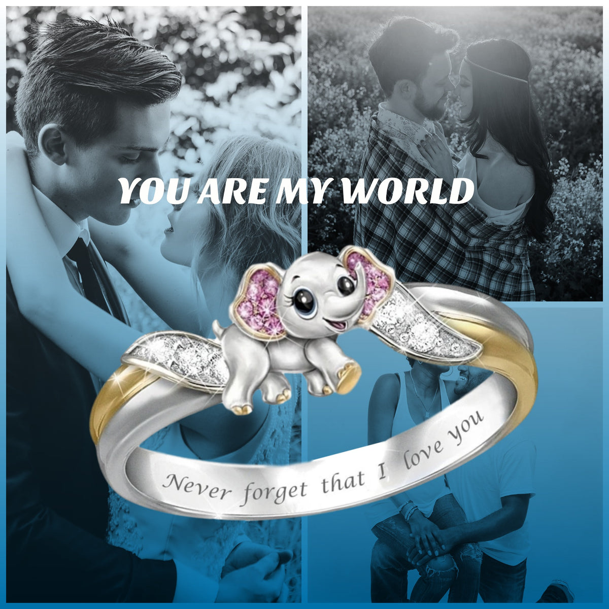 """Never Forget I Love You"" Silver Cute Pink Elephant Crystal Ring"