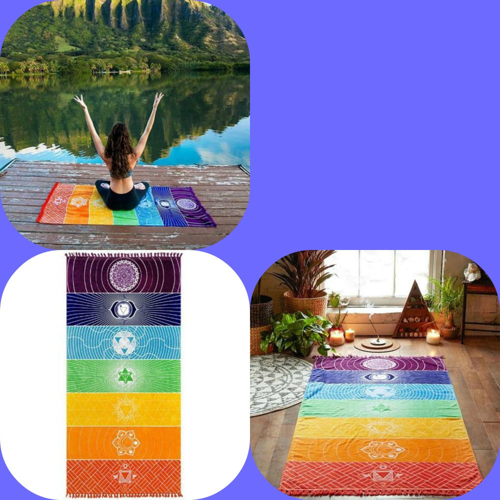 Chakra tapestry Hot Rainbow Beach Mat Mandala Blanket Wall Hanging Tapestry Stripe Towel Yoga