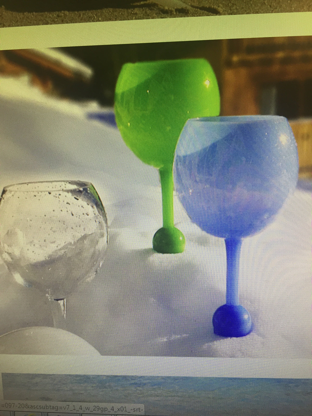 Floating wine glass blue