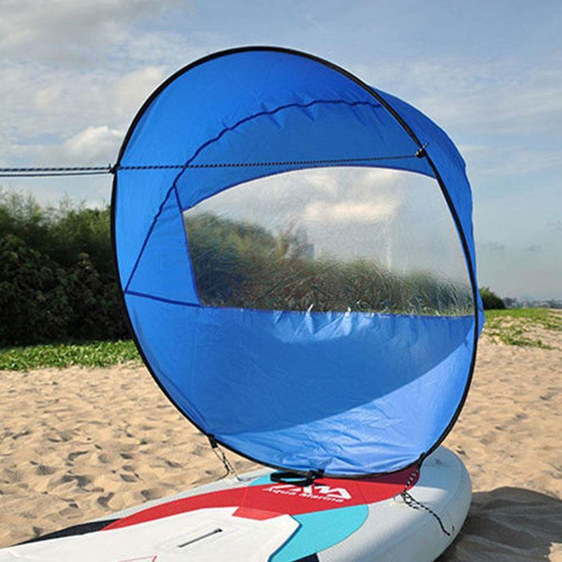 "42"" Kayak Windpaddle Wind Paddle Sailing Popup Board Sail Rowing Downwind Boat Clear Window"