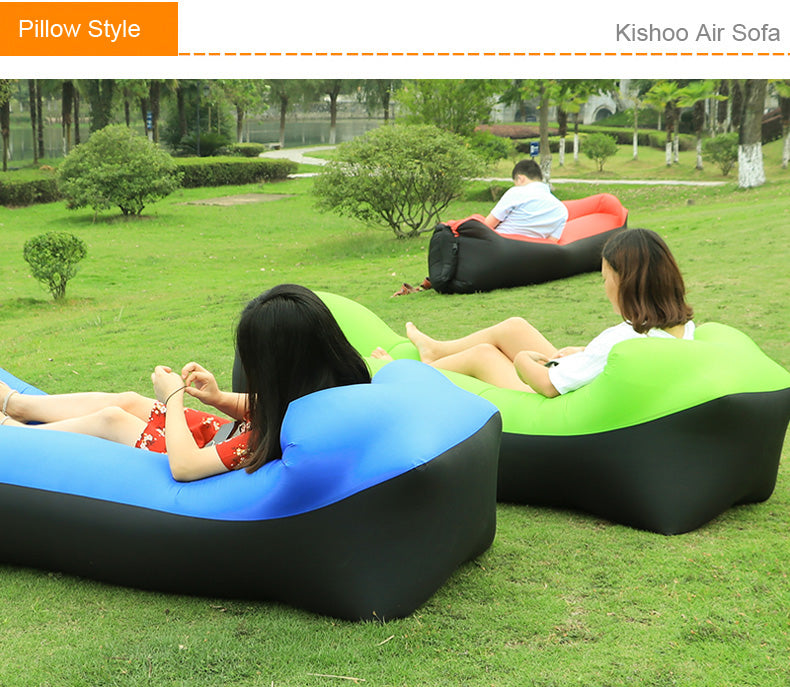 2019 New Outdoor lazy sofa sleeping bag portable folding rapid inflatable air sofa bag Adults Kids Beach Lounge blow-up lilo bed