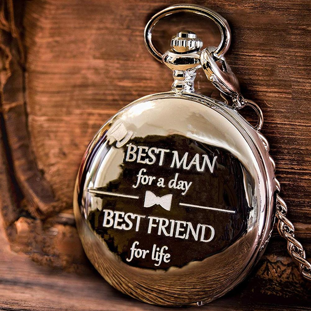 Quartz Pocketwatch Flip Case Unisex Vintage Letters Carved with Chain Arabic Numeral Round Analog BEST Friend Unique Watches HOT