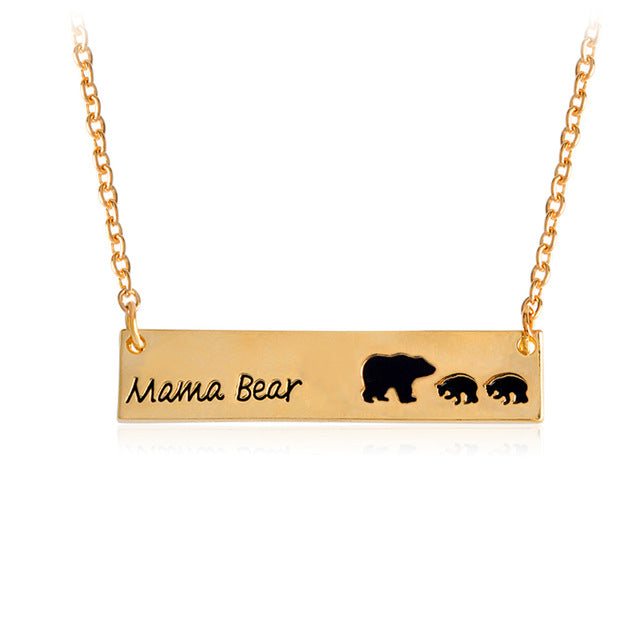 Mama Bear Tag Engraved Animal Pendant Necklace Gold Silver Mother Kids Love Necklace Simple Fashion Mom and Children Jewelry