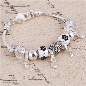 Stylish Pink Crystal Charm Silver Bracelets & Bangles for Women With Fashionable Beads Silver Bracelet Jewelry