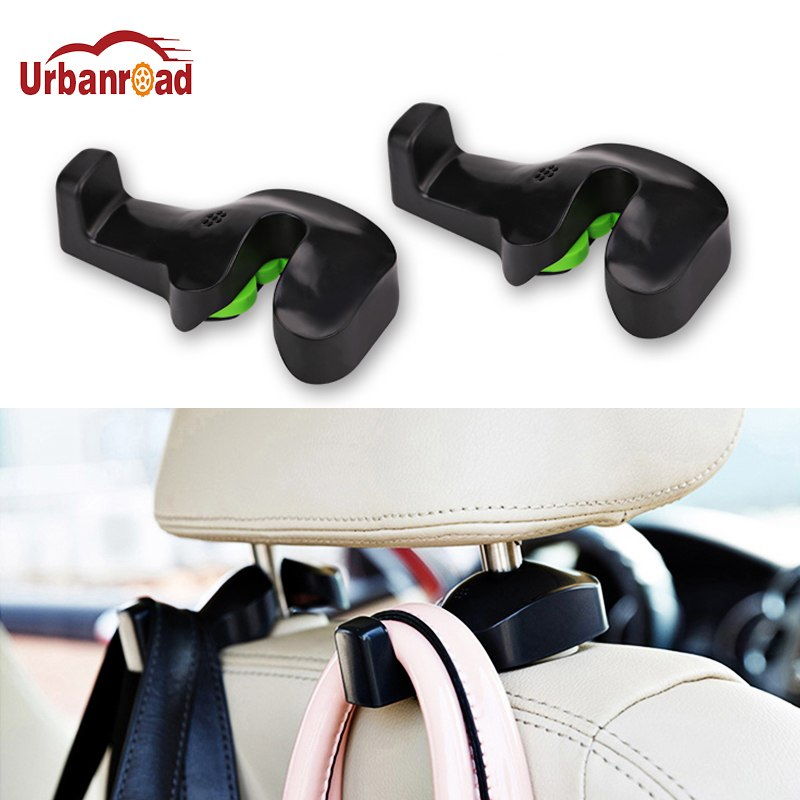 Urbanroad 2pcs Car Back Seat Headrest Holder Auto Hanger Hooks Clip for Purse Bag Cloth Grocery Automobile Interior Accessories