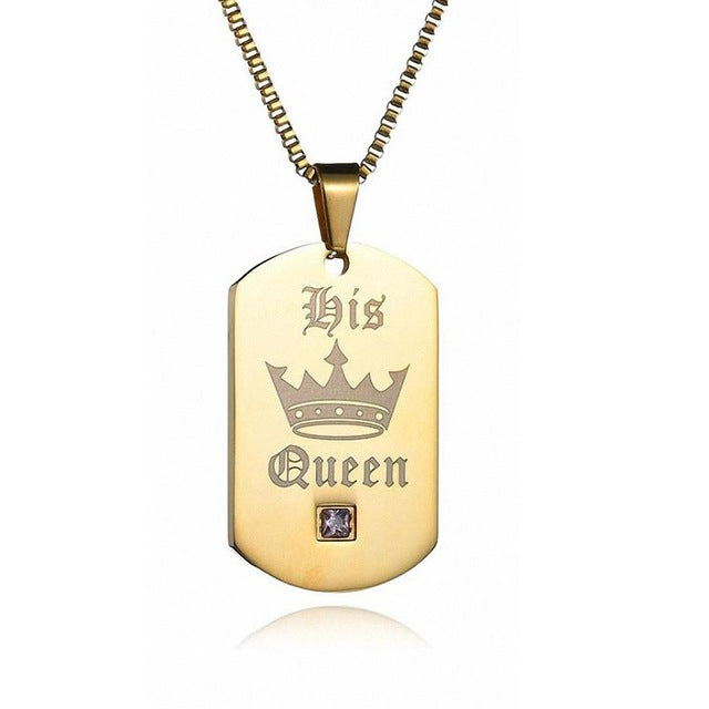 Kalapure Her King & His Queen Crown Gold Tags Pendant Stainless Steel Couple Necklace For Women Men Jewelry Gift Matching Set