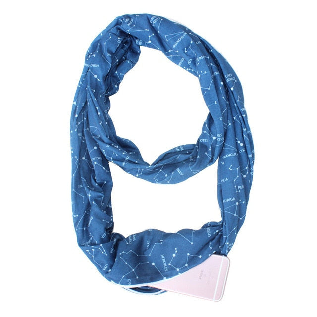 Convertible Infinity Scarf with Pocket Pattern Infinity Scarf with Zipper Pocket All-match Fashion Women Scarves,CI005