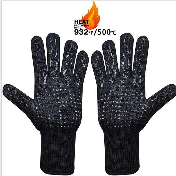 High temperature 500 800 degrees BBQ flame retardant non-slip fireproof grill insulation Microwave oven gloves