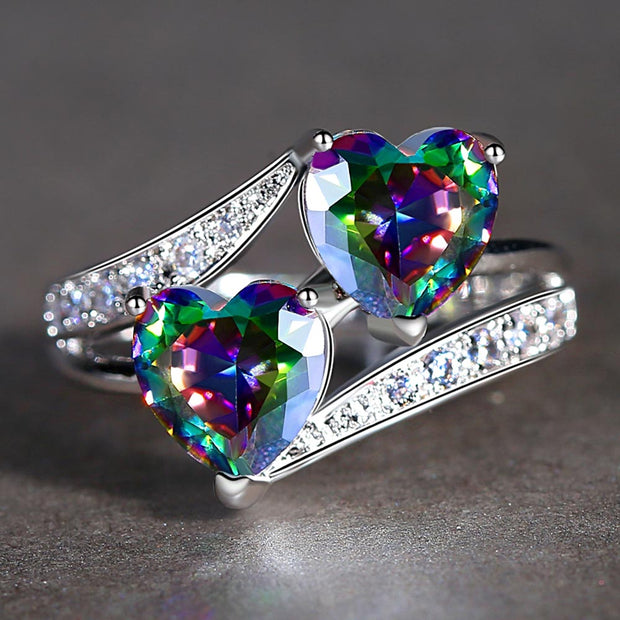 Double Heart Cubic Zirconia Ring