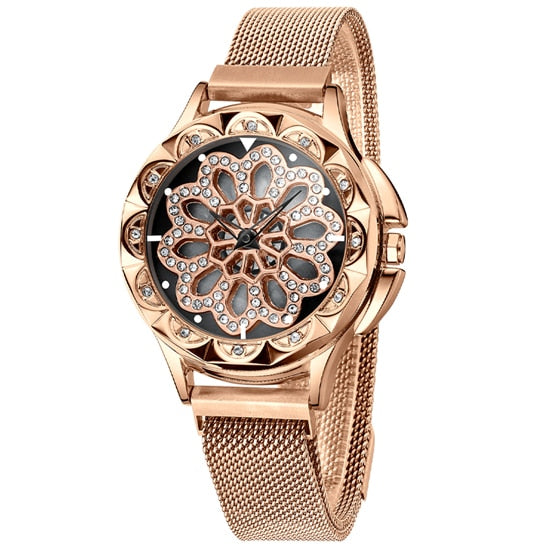 Luxury Lucky Clover Rotating Watch