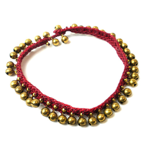 Little Bells Anklet - Deep Red