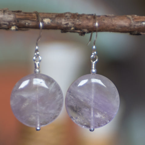 Calming Moon Amethyst Disc Earrings