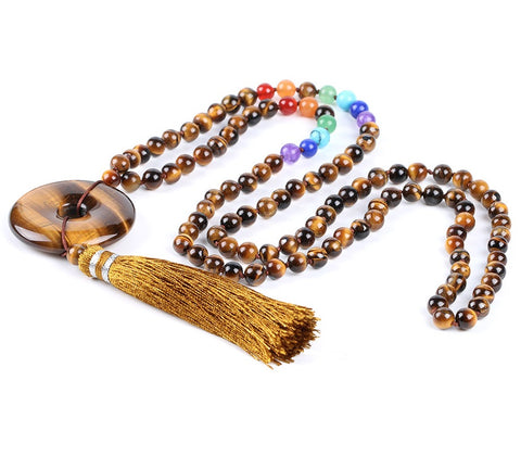 tiger's eye mala, tassel mala, mala necklace, chakra mala, mala beads