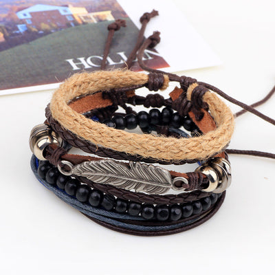 Bodhi Leaf Wrap Bracelet Set