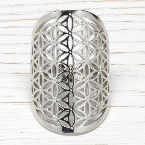 Silver Flower of Life Ring