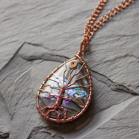 Abalone Shell Tree of Life Necklace
