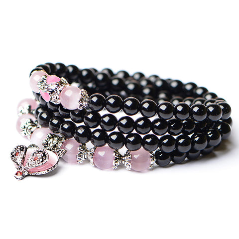 Black Agate Pink Opal Cat Mala