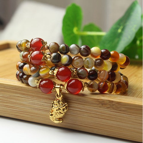 agate mala, red mala, orange mala, protection mala, mala bracelet, mala beads, lion mala