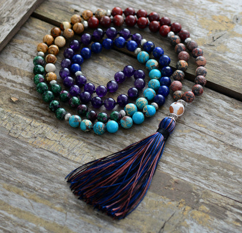 chakra mala, colorful mala, tassel mala, rainbow mala, mala beads, mala necklace