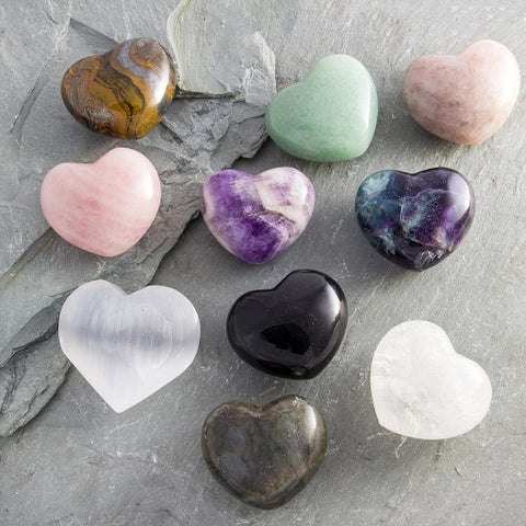 Gem Stone Hearts / Large Palm Stone Hearts (Rose Quartz, Crystal Quartz, Amethyst Etc - 1-3/4 Inches)