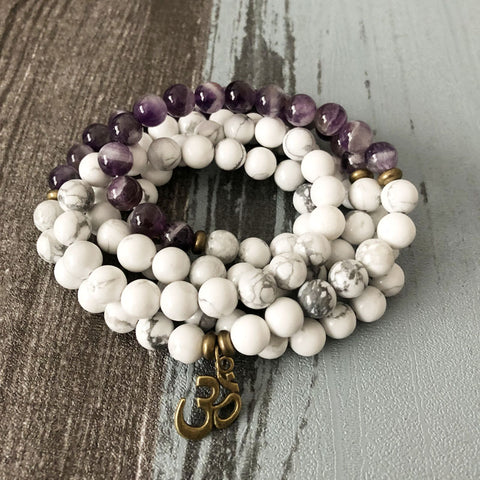 Howlite and Purple Agate Mala