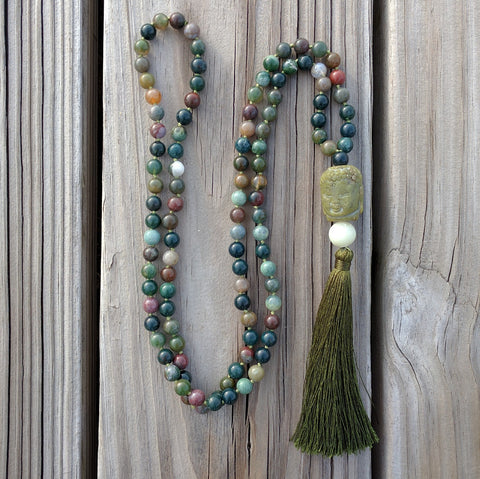 Indian Agate Green Buddha Mala