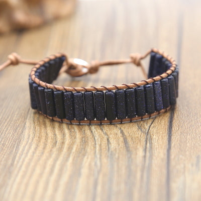 Infinite Stars Blue Goldstone Wrap Bracelet