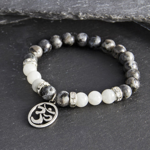 Labradorite and Moonstone Om Bracelet