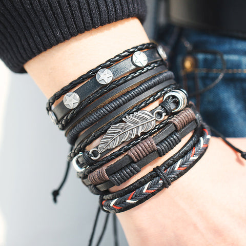 Men's Leather Wrap Bracelet Set