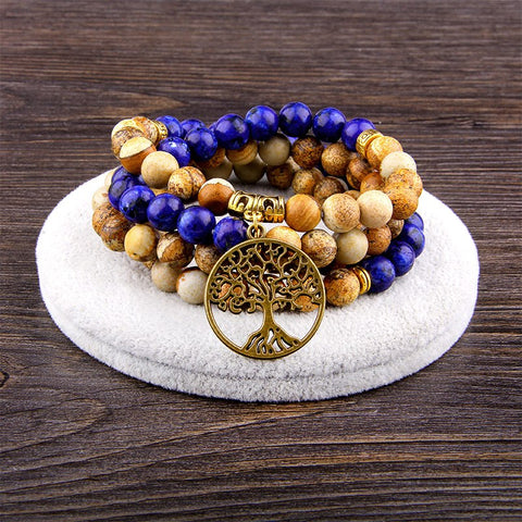 Peace of Nature Picture Jasper and Lapis Lazuli Mala