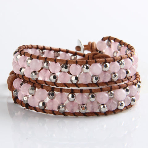 Pure Heart Rose Quartz Wrap Bracelet